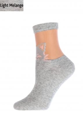 Женские носки меланж с котиком TM GIULIA WSM-020 melange calzino