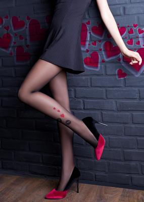 Фантазийные колготки с рисунком из сердец TM Giulia LOVERS 20