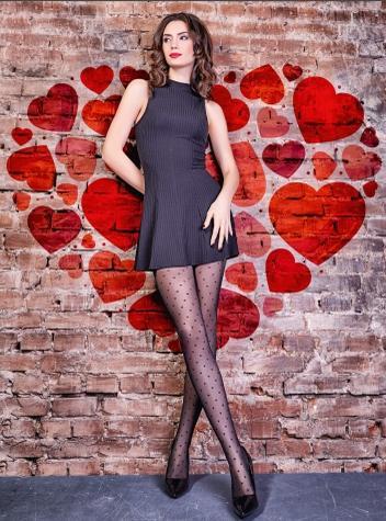 Фантазийные колготки с рисунком из мелких сердец TM Giulia LOVERS 20