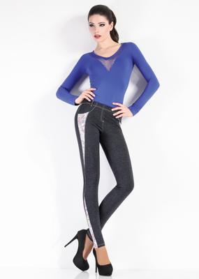 Леггинсы со вставками в джинсовом стиле ТМ GIULIA LEGGY BLOOM model 1