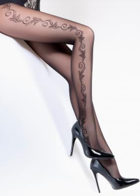 колготки со стилизованным цветочным рисунком по бокам TM GIULIA FLORY 40