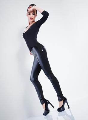 Леггинсы со вставками под кожу ТМ GIULIA LEGGY SHINE