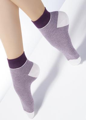 Хлопковые носки укороченной длины в полоску TM GIULIA CF-01