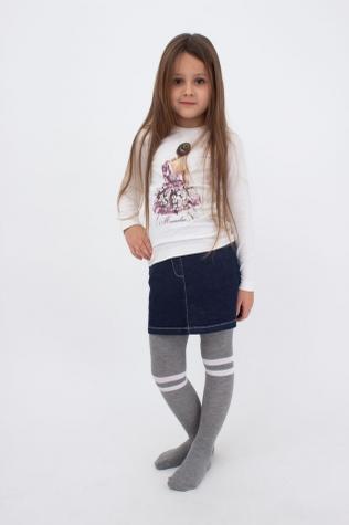 Детские хлопковые колготки с цветным узором TM GIULIA D048 TEEN GIRL MELANGE