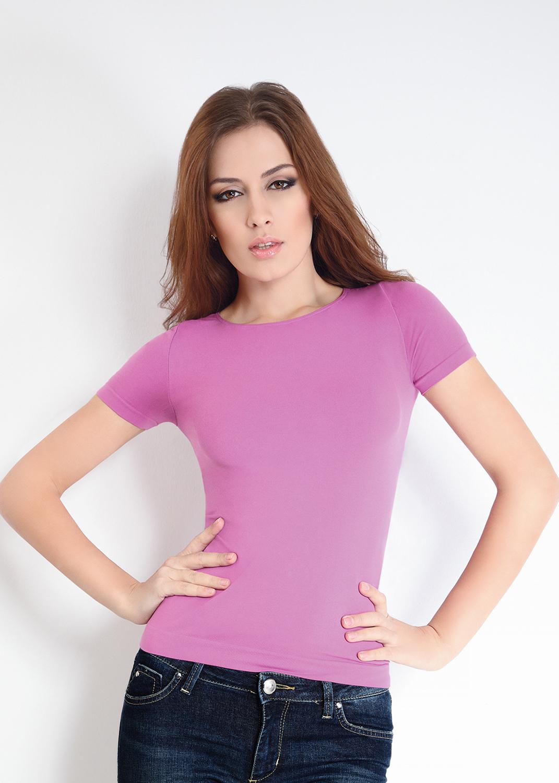 Футболки женские T-shirt scollo tondo manica corta