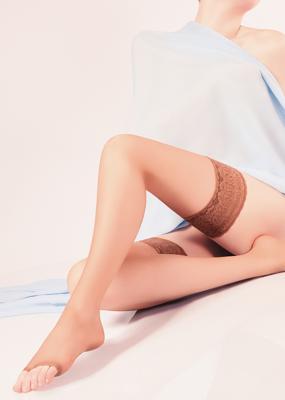 Чулки с открытым носком и самоудерживающимся кружевом TM GIULIA TOE 15